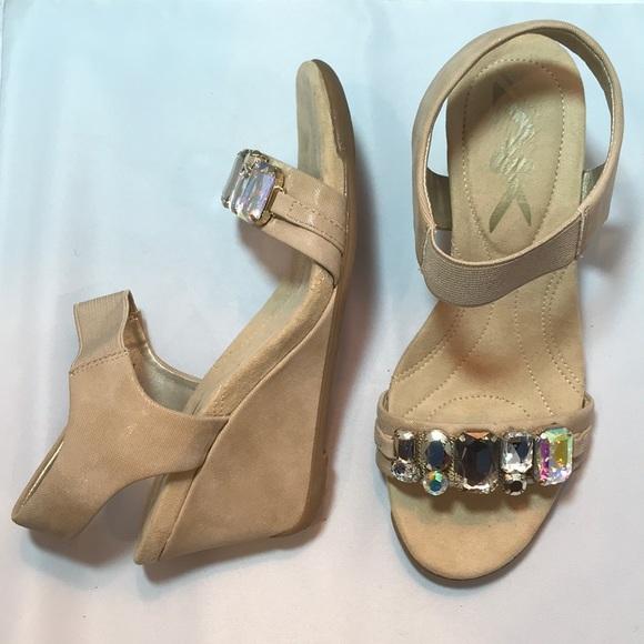 bc47b727ebe Anne Klein Sport Shoes - Anne Klein sport 6 AKLAROW bling wedge sandals tan